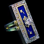 Vintage Blue Enamel Diamond 14 k Gold Long Ring