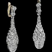 Antique Edwardian Diamond Platinum 14k Gold Drop Earrings