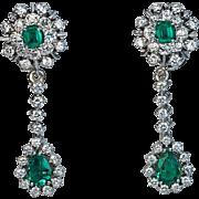 Vintage Emerald Diamond Day to Night Drop Earrings