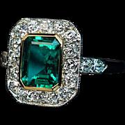 Antique Edwardian Era Emerald Diamond Engagement Ring