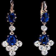 Antique Sapphire and Diamond Dangle Earrings