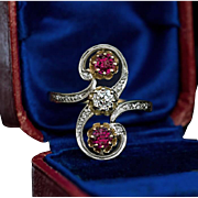 Belle Epoque Antique French Diamond Ruby Scroll Ring
