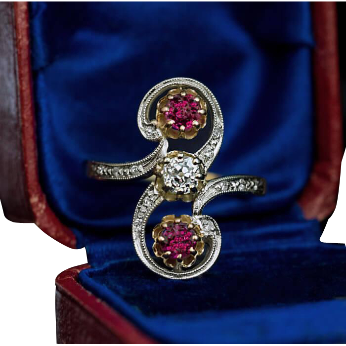 belle epoque antique french diamond ruby scroll ring from