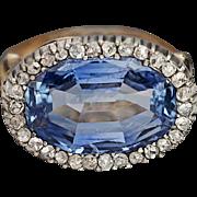 Antique 10 Ct Ceylon Sapphire and Diamond Ring