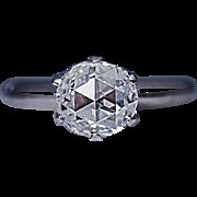 Vintage Rose Cut Diamond Platinum Engagement Ring