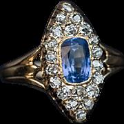 Antique Victorian Sapphire Diamond 14k Gold Marquise Shape Ring