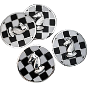 Vintage Russian Enameled Silver Chess Themed Cufflinks