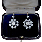 Antique Russian 2.50 Ct Tw Diamond Cluster Earrings