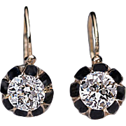 Antique Russian 1.21 Ct Tw Solitaire Diamond Enamel 14K Gold Earrings