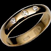 Antique Russian Three Diamond 23K Gold Wedding Ring 1871