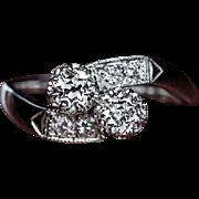 "Vintage Bypass ""Moi et Toi"" Diamond Engagement Ring"