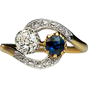 Antique French Sapphire Diamond Crossover Engagement Ring