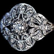 Antique Edwardian Bow Motif Diamond Platinum 18K Gold Engagement Ring