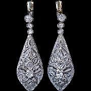 Antique Edwardian Bow Motif Diamond Platinum 18K Gold Drop Earrings