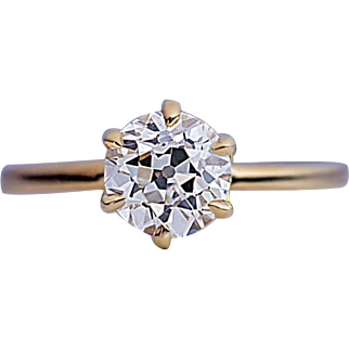 1 Ct Old European Cut Diamond Solitaire Antique Russian Engagement Ring