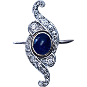 Belle Epoque Antique Cabochon Sapphire Diamond Scroll Ring