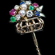 Vintage Tutti Frutti Multi Gem 14k Gold Basket Stick Pin