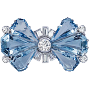 Vintage Art Deco Aquamarine Diamond Platinum Brooch