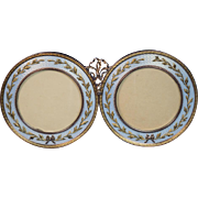 FABERGE Antique Russian 14k Gold Guilloche Enamel Double Picture Frame
