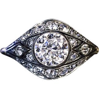 Antique Edwardian Era Old European Diamond Engagement Ring