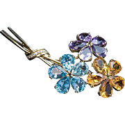 Vintage Amethyst Citrine Topaz Diamond Gold Flower Brooch