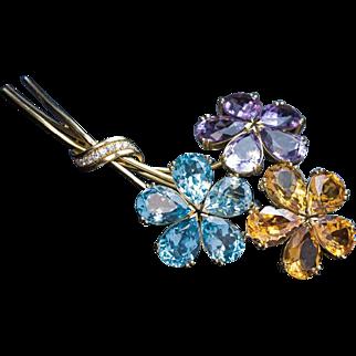 Vintage Amethyst Citrine Topaz Diamond Gold Flower Brooch