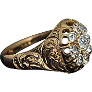 Antique Victorian Mid 19th Century Carved Gold Diamond Ring