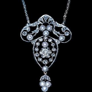 Antique Edwardian Pearl Diamond Pendant Necklace 1900s