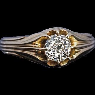 Antique Art Nouveau 0.75 Ct Cushion Cut Diamond 14 k Gold Unisex Ring