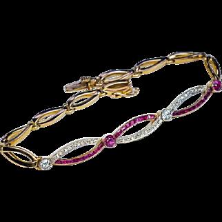 Antique Edwardian Diamond Ruby Platinum 14k Gold Bracelet
