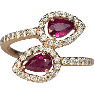 Contemporary Bypass Ruby Diamond 14k Gold Ring