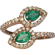 Contemporary Bypass Emerald Diamond Gold Ring