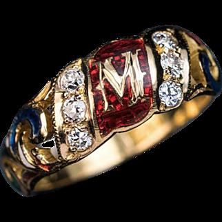 Renaissance Style 'M' Monogram Gold Enamel Diamond Ring
