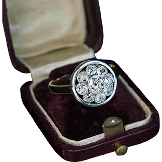 Antique Russian Old Mine Cut Diamond Silver 14K Gold Cluster Ring