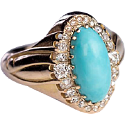 Antique Victorian Era Russian Turquoise Diamond 14K Gold Ring