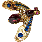 19th Century Antique Jeweled Gold Insect Brooch