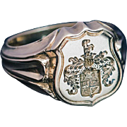 Antique 19th Century Carved 14k Gold Men's Armorial Signet Ring