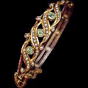 Belle Epoque Antique Edwardian Peridot Pearl 14k Gold Bangle Bracelet