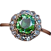 Antique 1.38 Ct Russian Demantoid Rose Cut Diamond 14K Gold Ring
