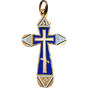Antique Russian Two Color Enamel 14k Gold Cross Pendant