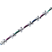 Antique Diamond Ruby Sapphire Emerald Platinum Bow Bracelet