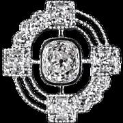 Unusual Asymmetrical Design 1 Carat Diamond Platinum Engagement Ring