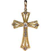Antique Gothic Revival 18 K Gold Diamond Cross Pendant Necklace