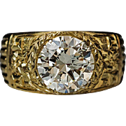 Vintage 3.48 Ct Diamond Carved 18K Gold Men's Ring