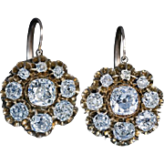 Antique Russian 19th Century 4.10 Ct Tw Diamond Cluster Earrings