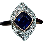 Art Deco Vintage Sapphire Diamond Navette Engagement Ring