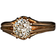 1.10 Ct Old European Cut Diamond 14k Gold Antique Unisex Ring
