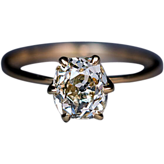 Antique 1.46 Ct Cushion Cut Diamond Engagement Ring
