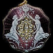 Belle Epoque Antique Enamel Diamond 18K Gold Locket Pendant