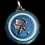 Antique Edwardian Jeweled Enamel 14K Gold Locket Pendant Necklace